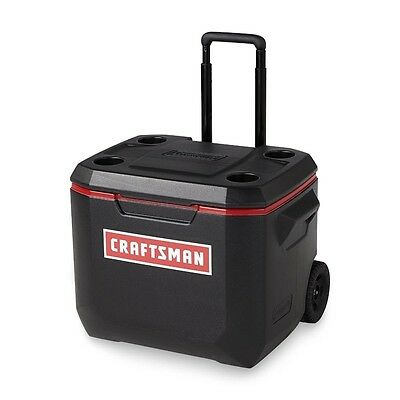 Portable Cooler With Wheels Craftsman Food Beverage Storage Ice Chest Box 50qt