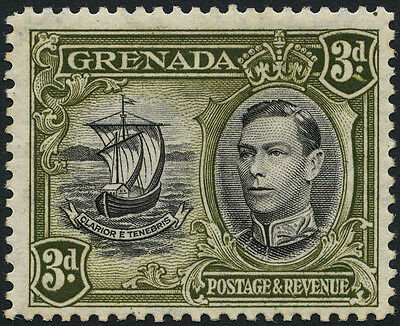 Grenada SG 158ba 1950 3d with R5/6 COLON FLAW. Mint. Cat Value £160
