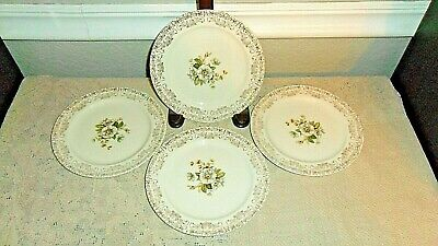 "4 Paden City Potteries Royal Monarch 6 1/2"" Bread Plates 24K Gold Poppy Flowers"