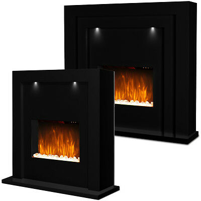Free Standing Electric Fire Fireplace Black Mdf Surround Led Lights Living Room