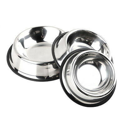 Stainless Steel Pet Dogs Cats Puppy Dish Feeding Feeder Food Water Bowl New
