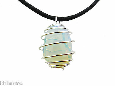 Opalite Moonstone Silver Spiral Necklace black cord pendant gemstone wicca pagan