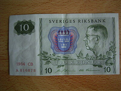 sweden 1984 10 kronor banknote cb a 816878
