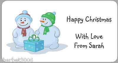 24 x Personalised Stickers Christmas Snowmen + Present Address Labels
