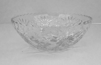 Vintage ANCHOR HOCKING Star Of David PRESCUT EAPC Glass Large Clear Serving Bowl