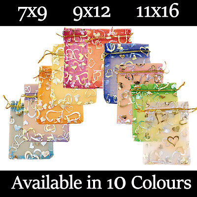 Hearts Small Organza Gift Wedding Favour Bag Jewellery Pouch 10 Colour & 3 Sizes