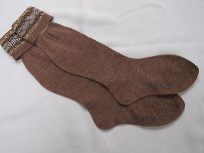 VINTAGE 1940's WW2 ERA BROWN BOY'S SCHOOL EVACUEE SOCKS - SIZE 7""