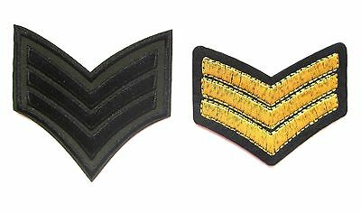 Sergeant Stripes Iron On Patch- Embroidered Sergent Military Army Navy Badge