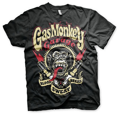 Gas Monkey Garage Spark Plugs Zündkerzen Blood Sweat & Beers Männer Men T-Shirt