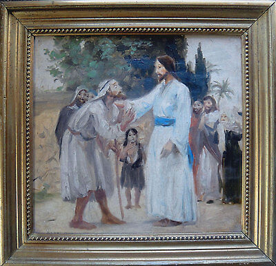 Antique painting. Jesus meeting blind man. Danish artist c1900