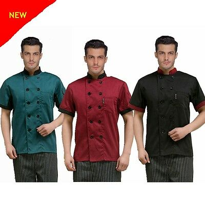 Chef Jacket Coat Chef Uniform Kitchen Men's Short Sleeve Restaurant Cooker Work