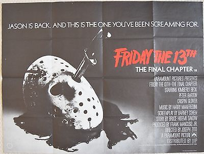 Friday the 13th Final Chapter, original UK Quad Poster, 1984