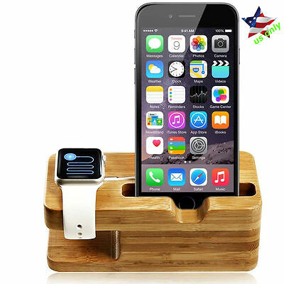 Apple Watch Stand Bamboo iWatch iPhone Cradle Holder Charging Docking Station