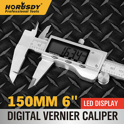 """Electronic Digital Vernier Caliper Micrometer Guage New 150mm 6"""" Stainless Steel"""