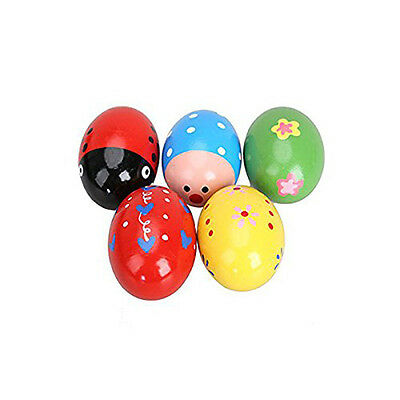5Pcs Music Shaker Baby Kid Wooden Egg Rattle Maracas Instrument Percussion Toys