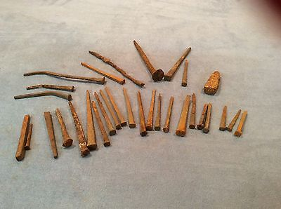 31 Vintage Primitive Rusty Old Horse Shoe Square Head Nails Craft Items
