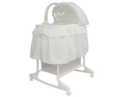 Brand New Baby Infant Rocking Bassinet Cot Bed White