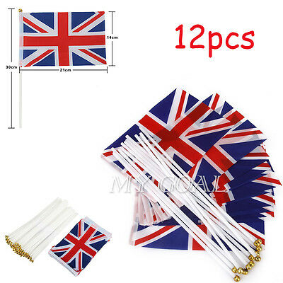 12PCS Hand Union Jack Small Waving Flag Royal Jubilee UK GB Great Britain Flags