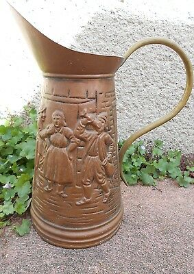 Vintage European COPPER & BRASS PITCHER  signed on back