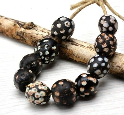 10, Trade Beads, Collectible, black, white, Venetian, Skunk Beads, Old African