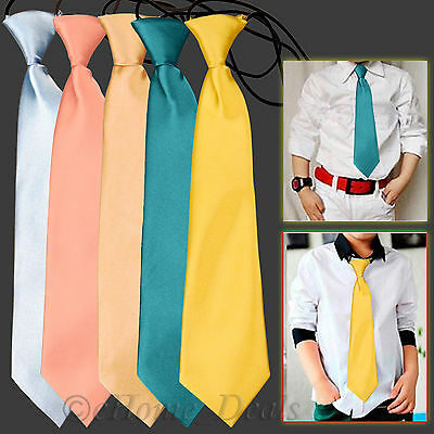 Boys Kids Childerns Satin Elastic Nect Tie Ties Prom School Wedding Party Gifts