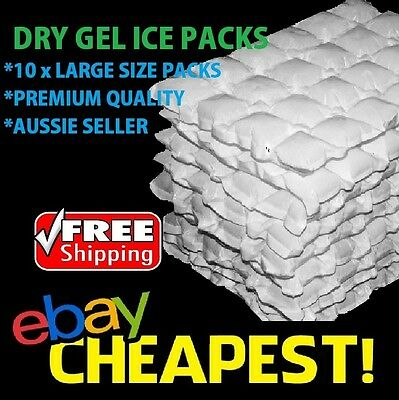 10 x DRY GEL ICE PACKS - Eski Sheets Cooler Hydratable  Reusable