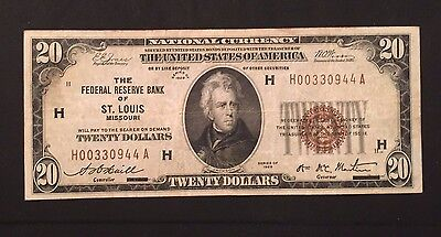$20 1929 National Bank Note Currency / Federal Reserve Bank Of St. Louis Mo
