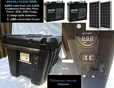 3,000 watts Pure Sine Wave Solar Generator.1,500 Continuous Power 220v. 50Hz.
