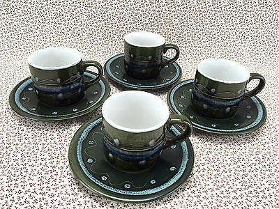 Set of 4 Tea Cup And Saucer Duo Retro Green Made Japan Stoneware Green Spotted