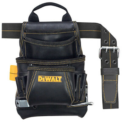 Dewalt 10 Pocket Carpenter's Top Grain Grain Leather Nail and Tool Bag