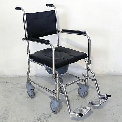 Stainless Steel Commode Wheelchair Bedside Commode Shower Toilet with Seat Patch