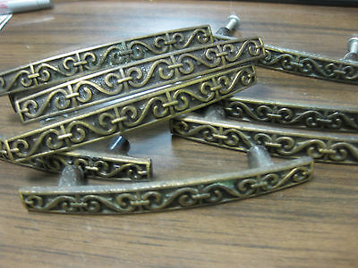 9 Vintage Early American Dungeon Bronze / Brass Drawer Pulls