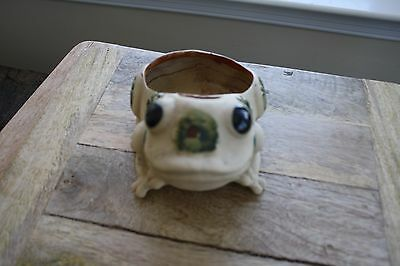 Frog Pottery planter flower candle holder strawberries stoneware beige flowers