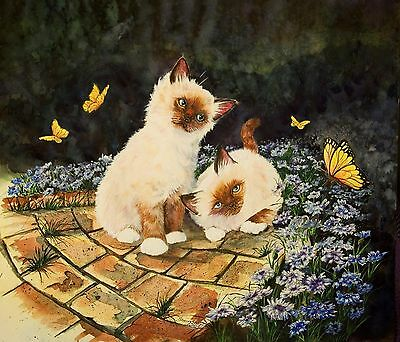 BIRMANS AND BUTTERFLIEs 12X16 Art Watercolor Cat Painting Sherry Shipley