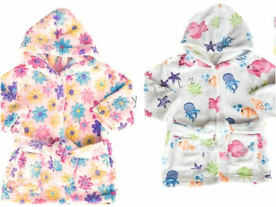 Baby Girls Hooded Dressing Gown White Underwater/Pink Flowers 6-12 12-18 18-24m