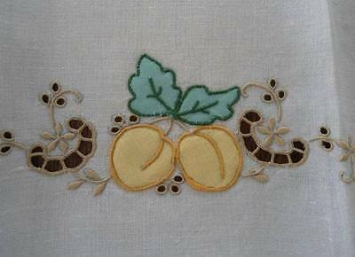 Vintage Linen Tea Hand Towel Madeira Embroidered Fruit Yellow Gold