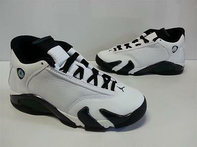 huge selection of 0460c 44ca9 NIB Youth Boys Nike Air Jordan 14 Retro BG White Black Oxidized Green  487524 106