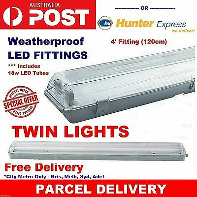 2 X Led T8 Weatherproof Outdoor Twin Light Fitting Includes T8 Tubes
