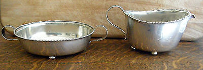 1880's WHITING STERLING SUGAR & CREAMER EXQUISTE BEADED EDGE FLORAL HANDLES RARE