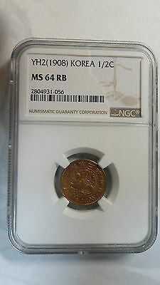 Korea Empire 1/2 Chon, Yung Hee 2(1908), NGC MS 64RB