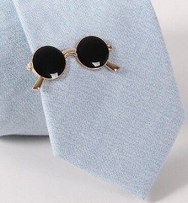 Retro Round Glasses Tie Bar Clip Optician Spectacles Gold Black Music Musician