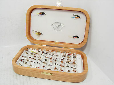 Wheatley Deluxe Cherry Hand Crafted Wooden Fly Box & 71 x Trout Flies