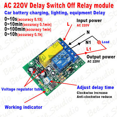 AC220V 230V Delay Timing Timer Delay Switch Turn Off On Board Time Relay Module