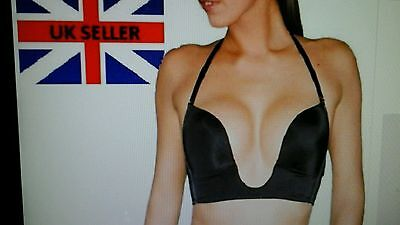 Deep U Plunge Low Neck  Invisible Racerback Push Up Bra For Max Cleavage 36B