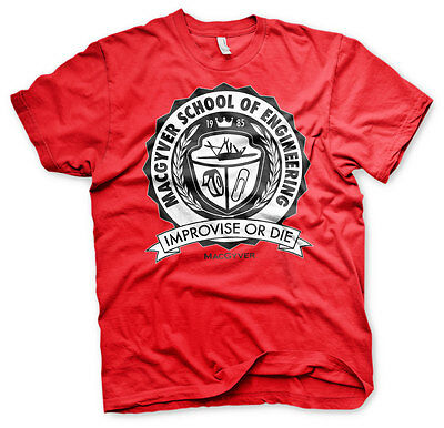 MacGyver School of Engineering Improvise or Die Logo Männer Men T-Shirt Rot Red