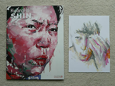 KwangHo Shin ORIGINAL SIGNED Drawing plus Book (free banksy stik & dface photos)