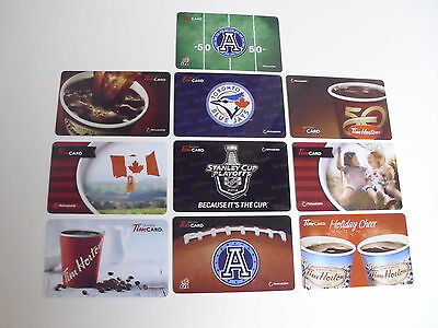 Lot Of 10 Tim Hortons Gift Cards Card No $ Value Free Shipping
