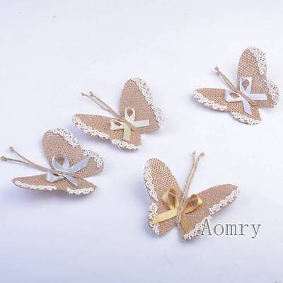 Hessian Jute  Butterfly With Lace Bows Wedding Craft Decoration Card Make DIY