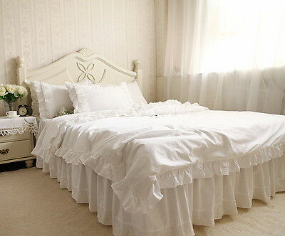 1x White Fantastic Delicate Embroidered Lace Satin Cotton Matching Bed Skirt1406