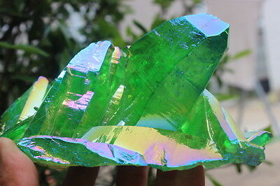 651g Natural green halo of quartz crystal cluster healing wand specimens